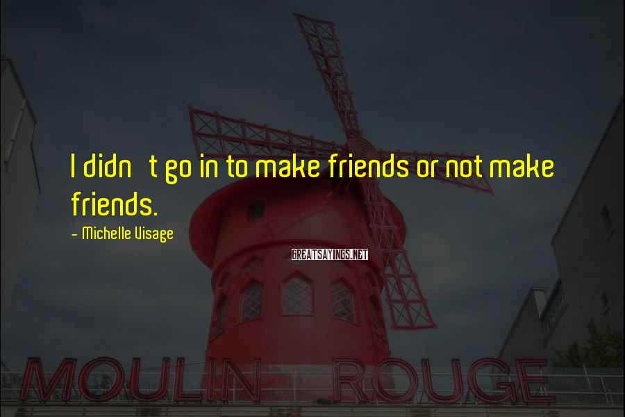 Michelle Visage Sayings: I didn't go in to make friends or not make friends.