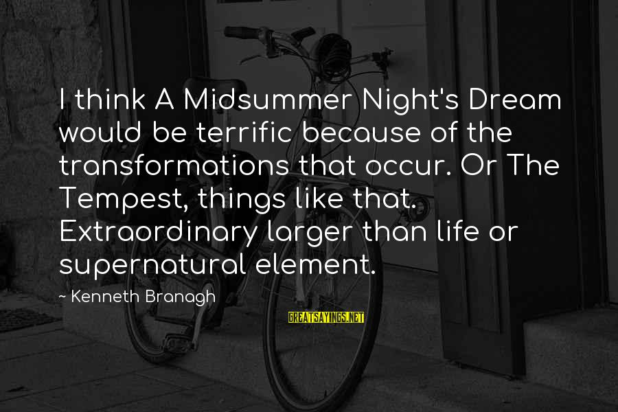 Midsummer's Night Dream Sayings By Kenneth Branagh: I think A Midsummer Night's Dream would be terrific because of the transformations that occur.