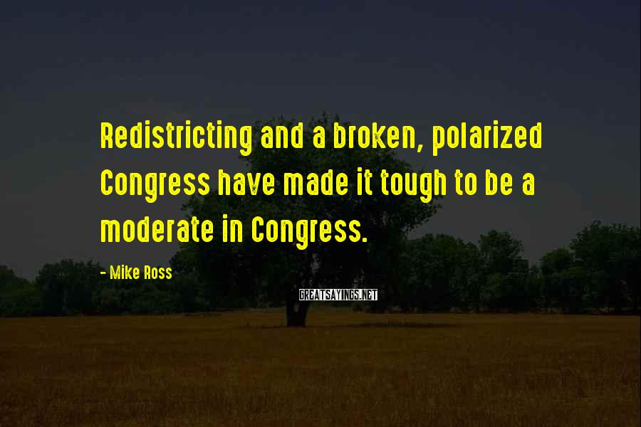 Mike Ross Sayings: Redistricting and a broken, polarized Congress have made it tough to be a moderate in