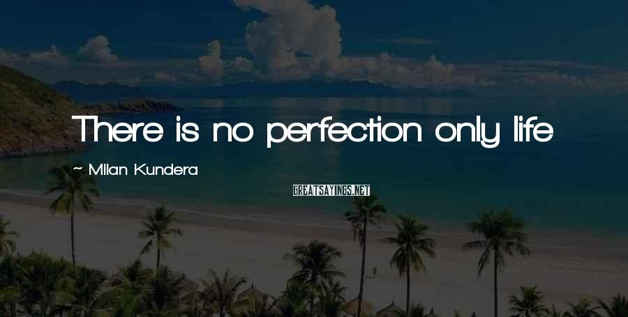 Milan Kundera Sayings: There is no perfection only life