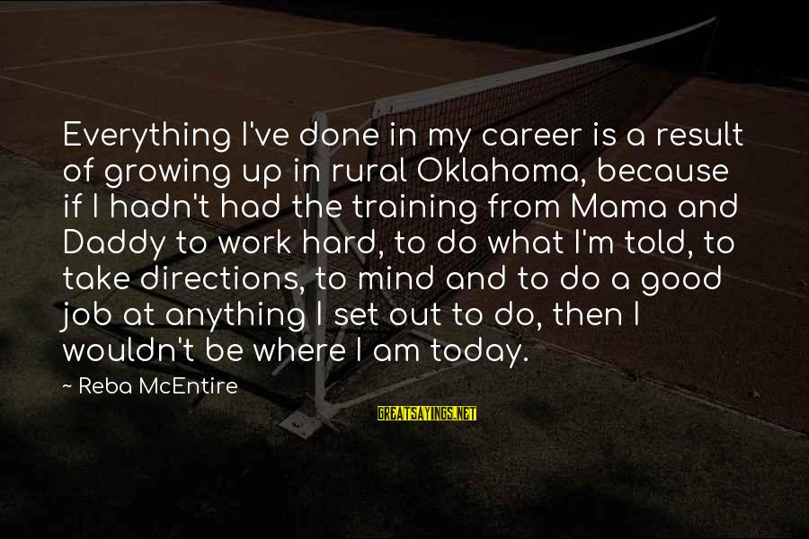 Mind Set Up Sayings By Reba McEntire: Everything I've done in my career is a result of growing up in rural Oklahoma,