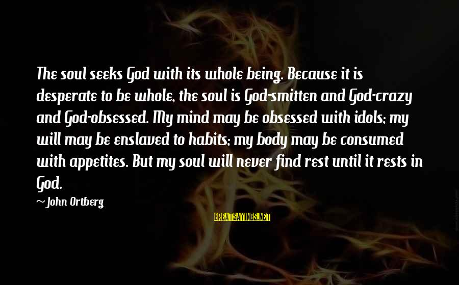Mind Soul And Body Sayings By John Ortberg: The soul seeks God with its whole being. Because it is desperate to be whole,