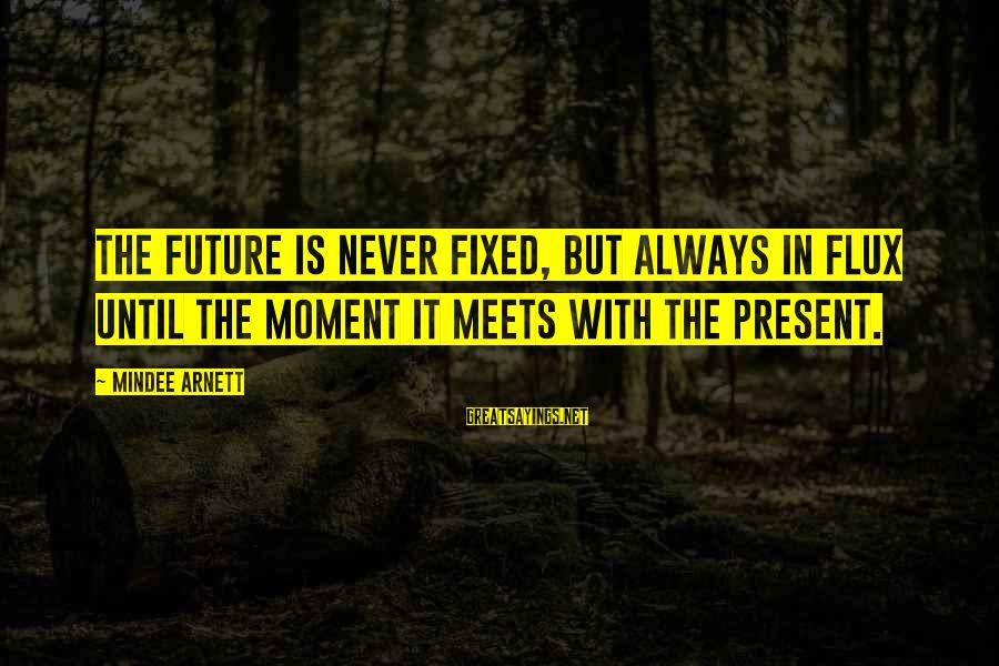 Mindee Arnett Sayings By Mindee Arnett: The future is never fixed, but always in flux until the moment it meets with