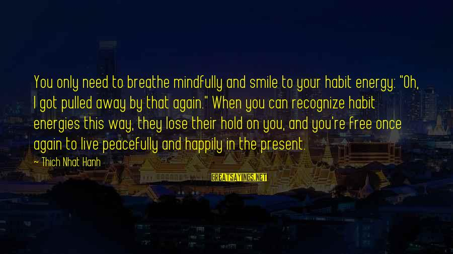 """Mindfully Sayings By Thich Nhat Hanh: You only need to breathe mindfully and smile to your habit energy: """"Oh, I got"""