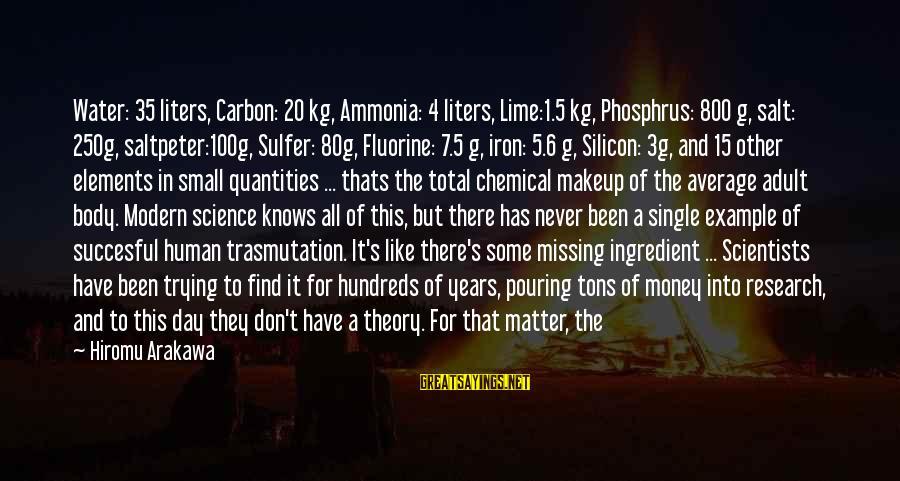 Missing My Child Sayings By Hiromu Arakawa: Water: 35 liters, Carbon: 20 kg, Ammonia: 4 liters, Lime:1.5 kg, Phosphrus: 800 g, salt: