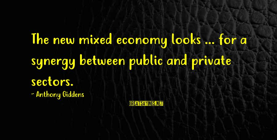 Mixed Economy Sayings By Anthony Giddens: The new mixed economy looks ... for a synergy between public and private sectors.