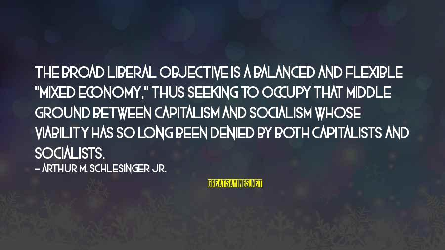 "Mixed Economy Sayings By Arthur M. Schlesinger Jr.: The broad liberal objective is a balanced and flexible ""mixed economy,"" thus seeking to occupy"
