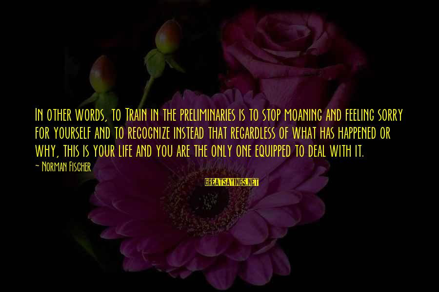 Moaning Sayings By Norman Fischer: In other words, to Train in the preliminaries is to stop moaning and feeling sorry