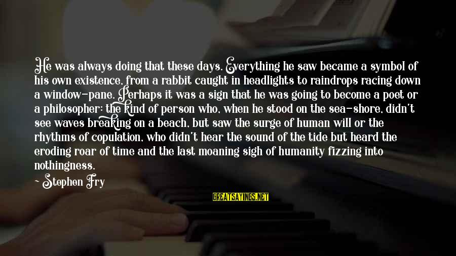 Moaning Sayings By Stephen Fry: He was always doing that these days. Everything he saw became a symbol of his