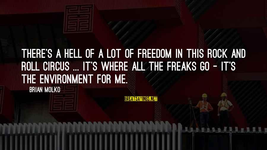 Molko Sayings By Brian Molko: There's a hell of a lot of freedom in this rock and roll circus ...