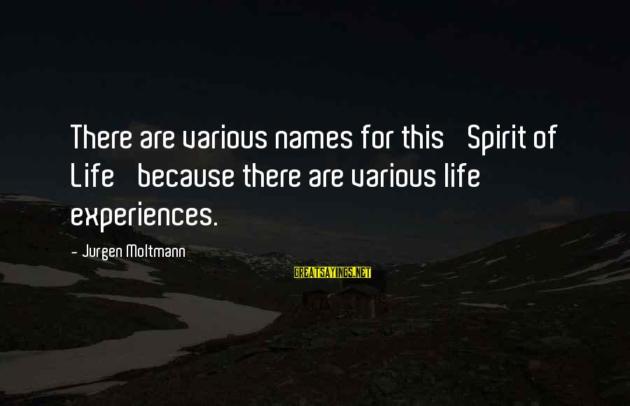 Moltmann Sayings By Jurgen Moltmann: There are various names for this 'Spirit of Life' because there are various life experiences.