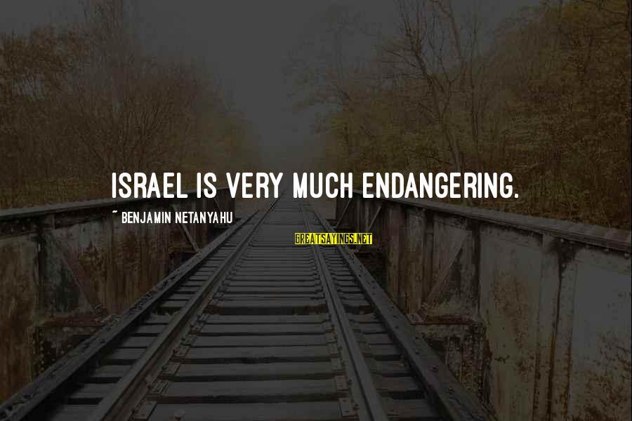 Money Not Mattering Sayings By Benjamin Netanyahu: Israel is very much endangering.