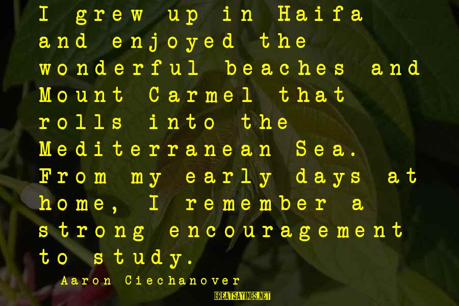 Monring Sayings By Aaron Ciechanover: I grew up in Haifa and enjoyed the wonderful beaches and Mount Carmel that rolls