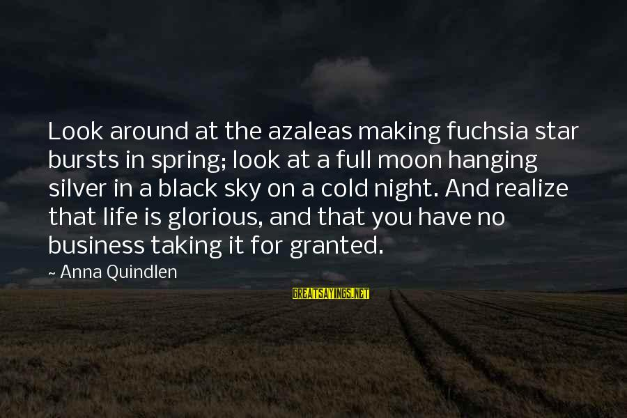 Moon Stars Night Sayings By Anna Quindlen: Look around at the azaleas making fuchsia star bursts in spring; look at a full