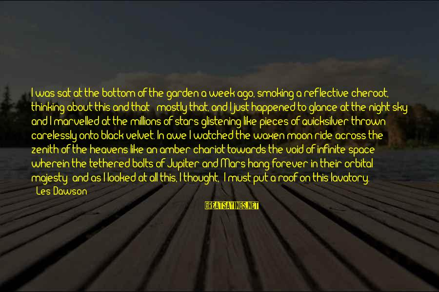 Moon Stars Night Sayings By Les Dawson: I was sat at the bottom of the garden a week ago, smoking a reflective
