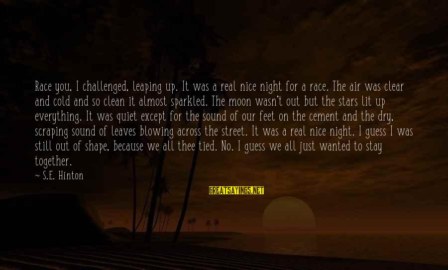 Moon Stars Night Sayings By S.E. Hinton: Race you, I challenged, leaping up. It was a real nice night for a race.