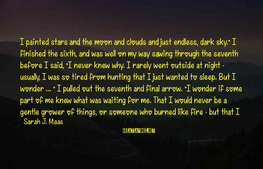 """Moon Stars Night Sayings By Sarah J. Maas: I painted stars and the moon and clouds and just endless, dark sky."""" I finished"""
