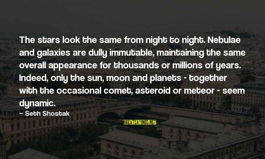Moon Stars Night Sayings By Seth Shostak: The stars look the same from night to night. Nebulae and galaxies are dully immutable,