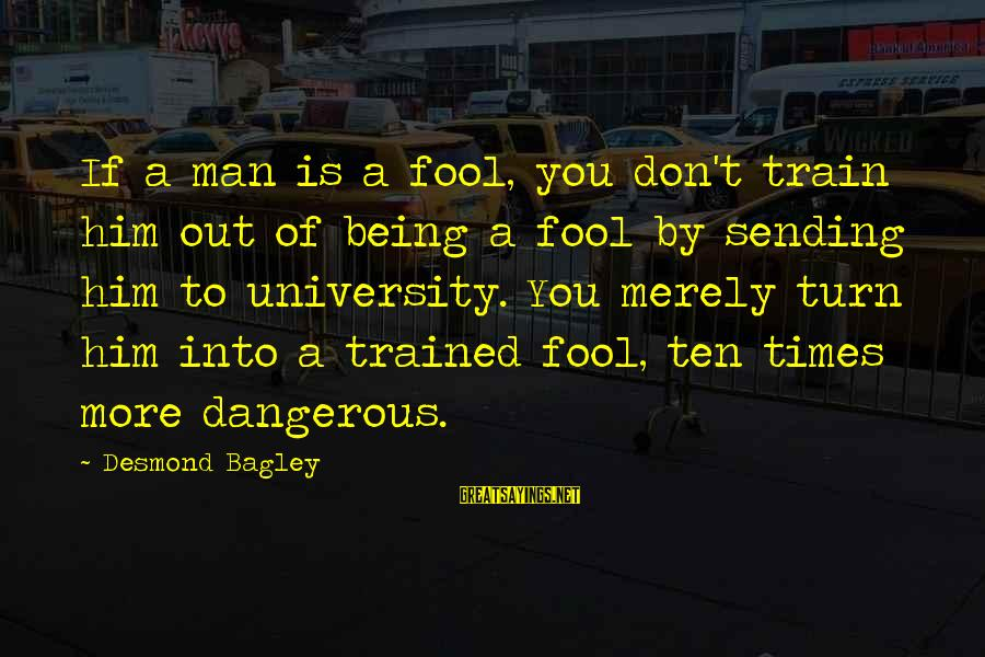 More Fool You Sayings By Desmond Bagley: If a man is a fool, you don't train him out of being a fool