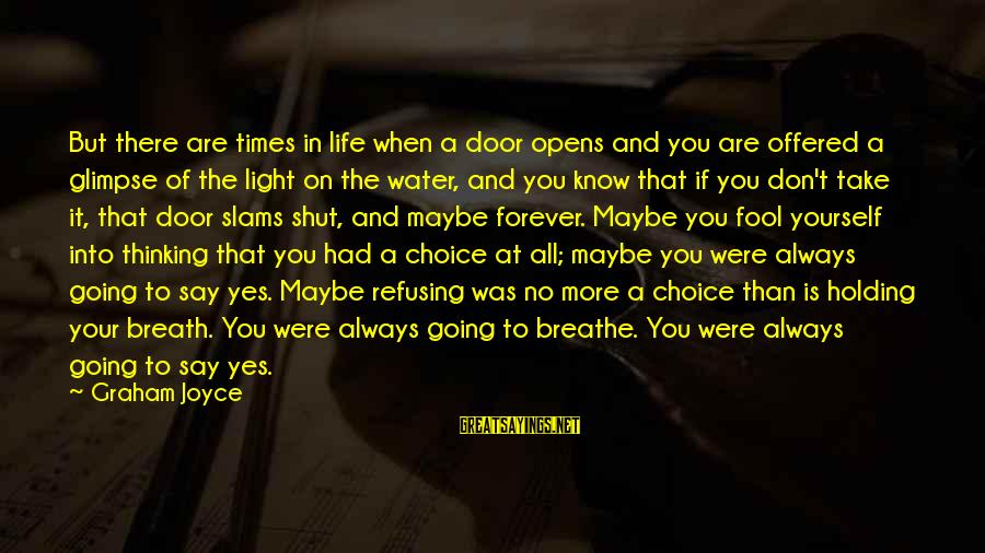 More Fool You Sayings By Graham Joyce: But there are times in life when a door opens and you are offered a