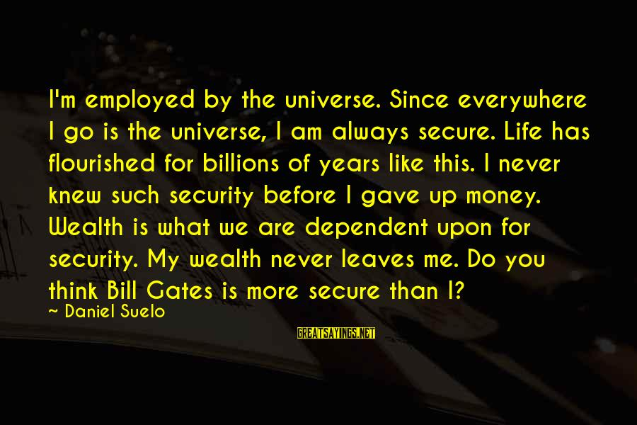 More Life Than Money Sayings By Daniel Suelo: I'm employed by the universe. Since everywhere I go is the universe, I am always