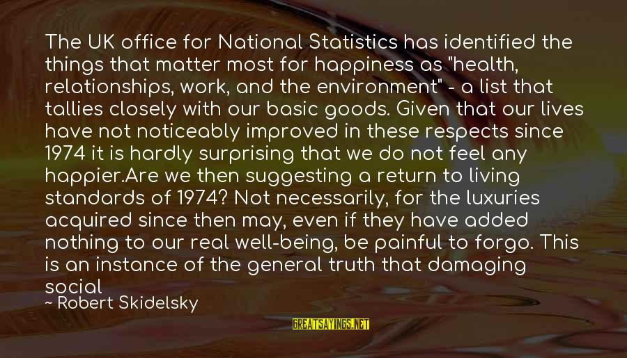 More Life Than Money Sayings By Robert Skidelsky: The UK office for National Statistics has identified the things that matter most for happiness
