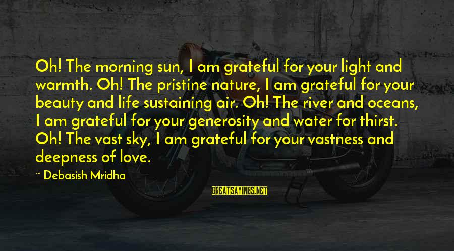 Morning And Nature Sayings By Debasish Mridha: Oh! The morning sun, I am grateful for your light and warmth. Oh! The pristine
