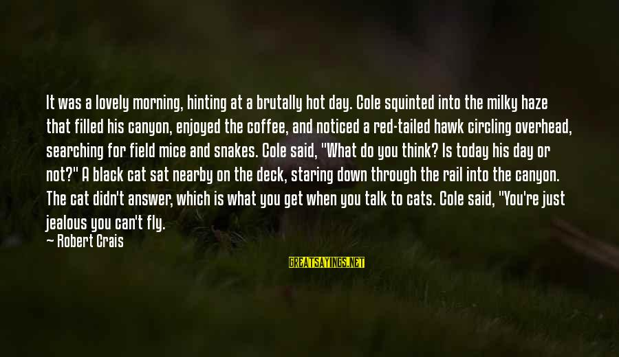 Morning Lovely Sayings By Robert Crais: It was a lovely morning, hinting at a brutally hot day. Cole squinted into the