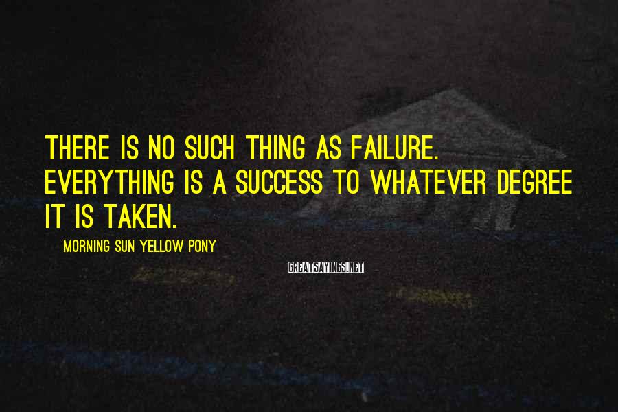 Morning Sun Yellow Pony Sayings: There is no such thing as failure. Everything is a success to whatever degree it