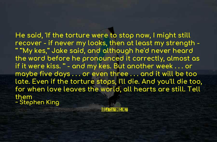 Morningside Sayings By Stephen King: He said, 'If the torture were to stop now, I might still recover - if