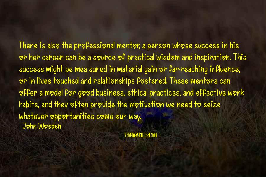 Motivation In Business Sayings By John Wooden: There is also the professional mentor, a person whose success in his or her career