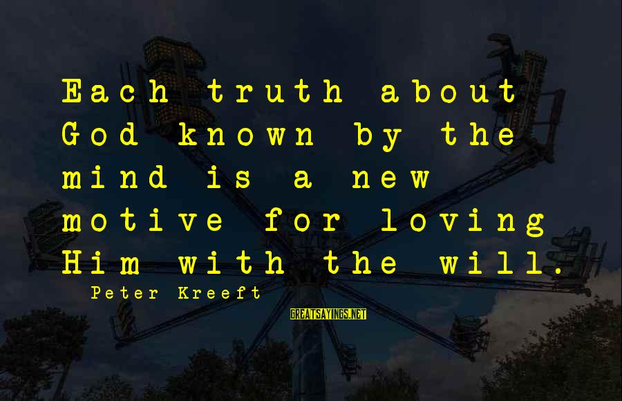 Motive Sayings By Peter Kreeft: Each truth about God known by the mind is a new motive for loving Him