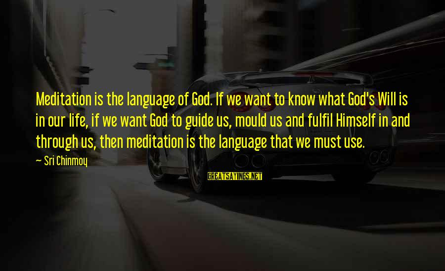 Mould Sayings By Sri Chinmoy: Meditation is the language of God. If we want to know what God's Will is