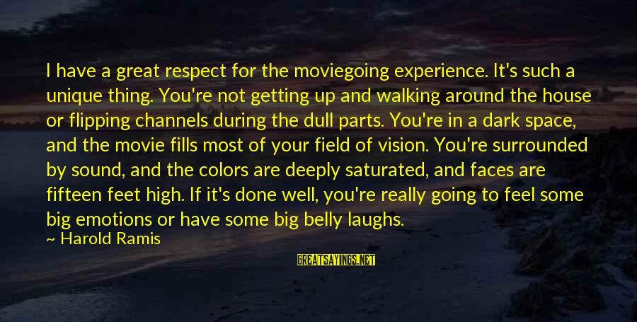 Moviegoing Sayings By Harold Ramis: I have a great respect for the moviegoing experience. It's such a unique thing. You're