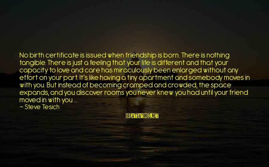 Moving On From A Friendship Sayings By Steve Tesich: No birth certificate is issued when friendship is born. There is nothing tangible. There is