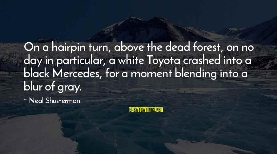 Mr Mercedes Sayings By Neal Shusterman: On a hairpin turn, above the dead forest, on no day in particular, a white