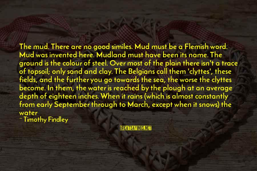 Mudland Sayings By Timothy Findley: The mud. There are no good similes. Mud must be a Flemish word. Mud was