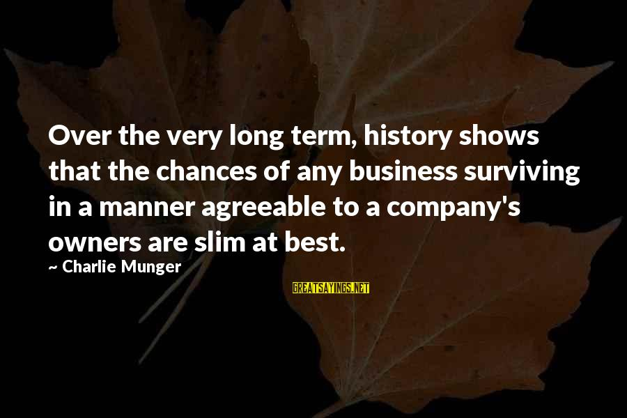 Munger Sayings By Charlie Munger: Over the very long term, history shows that the chances of any business surviving in