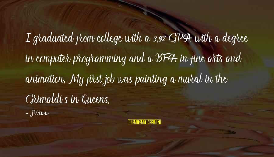 Mural Painting Sayings By JWoww: I graduated from college with a 3.92 GPA with a degree in computer programming and