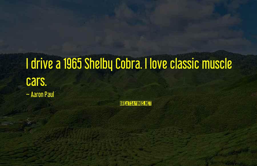 Muscle Cars Sayings By Aaron Paul: I drive a 1965 Shelby Cobra. I love classic muscle cars.