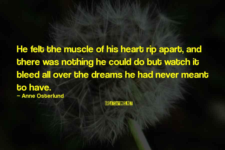 Muscle Sayings By Anne Osterlund: He felt the muscle of his heart rip apart, and there was nothing he could