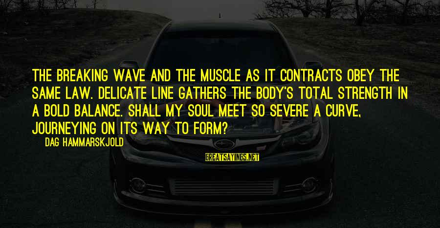 Muscle Sayings By Dag Hammarskjold: The breaking wave and the muscle as it contracts obey the same law. Delicate line