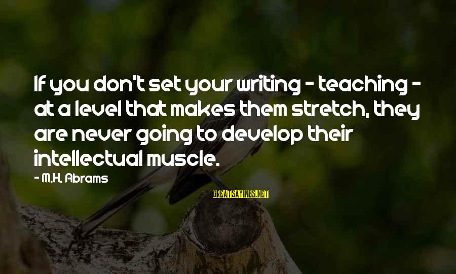 Muscle Sayings By M.H. Abrams: If you don't set your writing - teaching - at a level that makes them