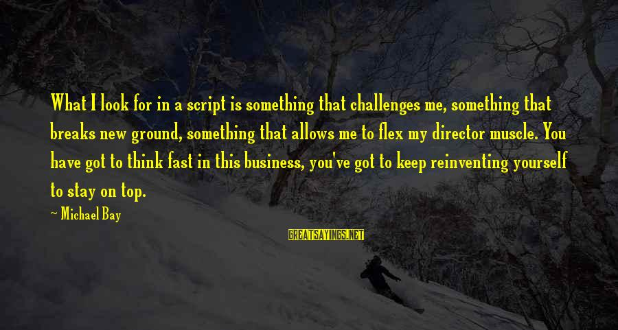 Muscle Sayings By Michael Bay: What I look for in a script is something that challenges me, something that breaks