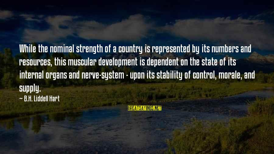 Muscular Strength Sayings By B.H. Liddell Hart: While the nominal strength of a country is represented by its numbers and resources, this