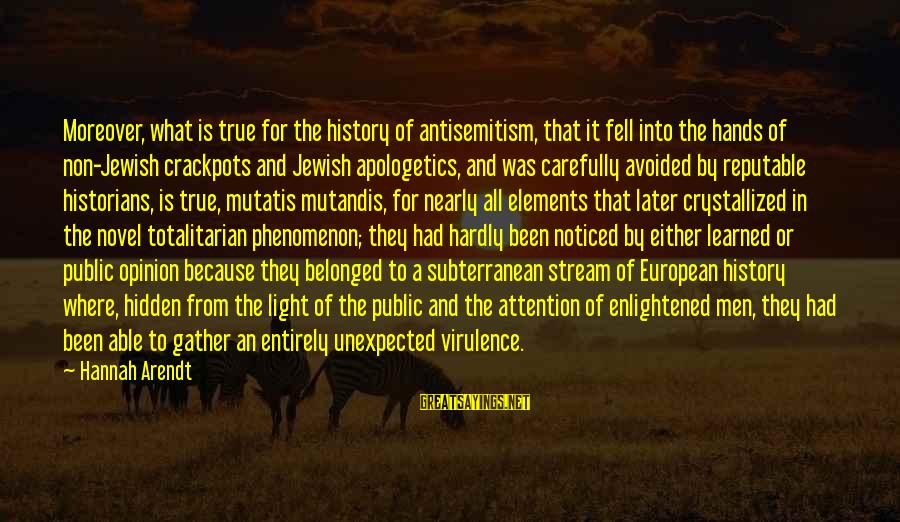 Mutatis Sayings By Hannah Arendt: Moreover, what is true for the history of antisemitism, that it fell into the hands