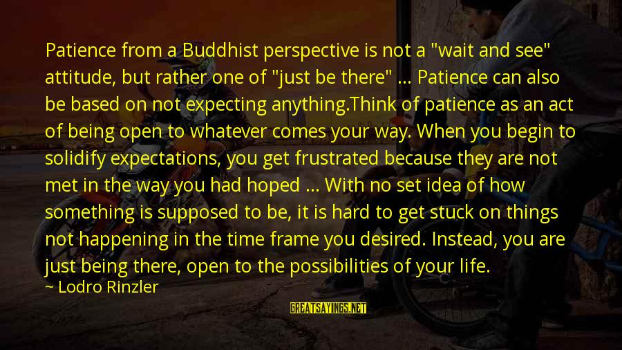 "My Attitude Based Sayings By Lodro Rinzler: Patience from a Buddhist perspective is not a ""wait and see"" attitude, but rather one"