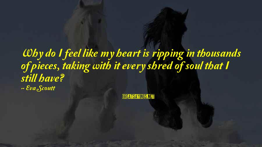 My Heart Hurts Sayings By Eva Scoutt: Why do I feel like my heart is ripping in thousands of pieces, taking with