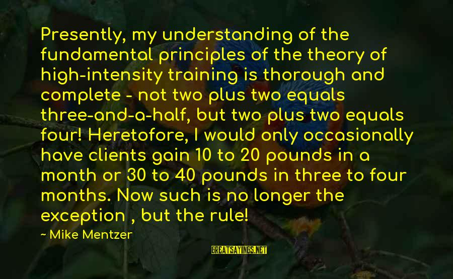 My Principles Sayings By Mike Mentzer: Presently, my understanding of the fundamental principles of the theory of high-intensity training is thorough