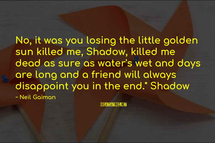 My Shadow Is My Only Friend Sayings By Neil Gaiman: No, it was you losing the little golden sun killed me, Shadow, killed me dead